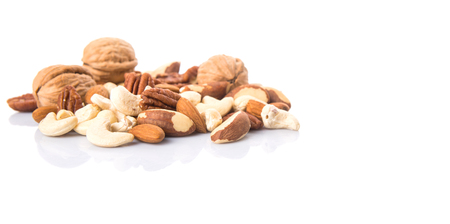nuts: Mix culinary nuts over white background Stock Photo