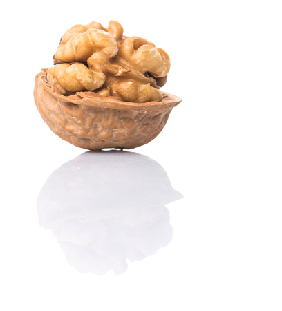 Walnut nuts over white background Stock Photo