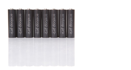 sanyo: KUALA LUMPUR, MALAYSIA - MARCH 9TH 2015. Eneloop Pro rechargable AA battery. First developed and introduced by Sanyo in 2015, Eneloop was acquired by Panasonic in 2013.