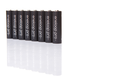 nimh: KUALA LUMPUR, MALAYSIA - MARCH 9TH 2015. Eneloop Pro rechargable AA battery. First developed and introduced by Sanyo in 2015, Eneloop was acquired by Panasonic in 2013.