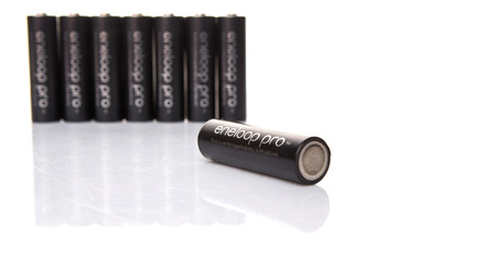 12v: KUALA LUMPUR, MALAYSIA - MARCH 9TH 2015. Eneloop Pro rechargable AA battery. First developed and introduced by Sanyo in 2015, Eneloop was acquired by Panasonic in 2013.