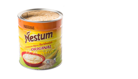 nestle: KUALA LUMPUR, MALAYSIA - MARCH 11TH 2015. Nestum wholegrain cereals is a brand of breakfast cereal manufactured by Nestle S.A, a Swiss multinational food and beverage company. Editorial