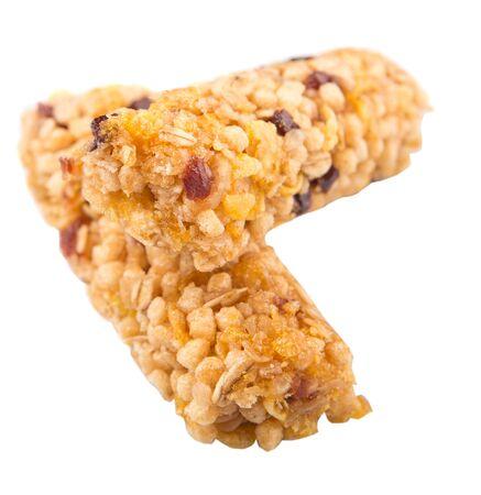 barra de cereal: Barra de cereal sobre fondo blanco