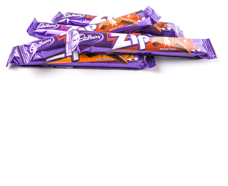 KUALA LUMPUR, MALAYSIA - MARCH 19TH 2015. Cadbury Zip chocolate wafer bar. Owned by Mondelez International, Cadbury is the second largest confectionery brand in the world.