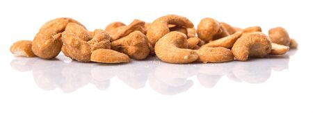 allergic ingredients: Roasted and salted cashew nut over white background