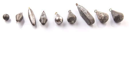 plumbum: Fishing sinker or knoch over white background Stock Photo