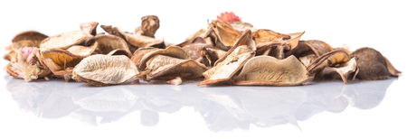 Potpourri materials of dried natural plants over white background