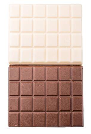 whitern: White and dark brown chocolate bars over white background