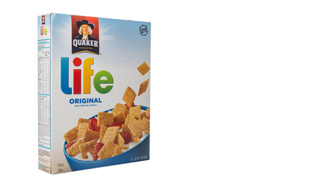 wordwide: PUTRAJAYA, MALAYSIA - APRIL 4TH, 2015. Quaker Life Cereal. Founded in 1901,The Quaker Oats Company is an American food conglomerate based in Chicago and has been owned by PepsiCo since 2001.