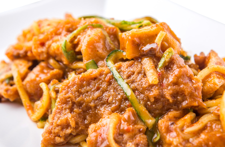 beancurd: Popular Malaysian salad Rojak Pasembur consisting of shredded cucumber, potatoes, beancurd, turnip, bean sprouts and mix seafoods with a sweet and spicy nut sauce.