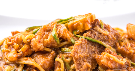 consisting: Popular Malaysian salad Rojak Pasembur consisting of shredded cucumber, potatoes, beancurd, turnip, bean sprouts and mix seafoods with a sweet and spicy nut sauce.