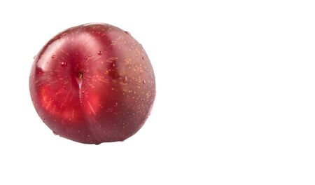drupe: Victoria plum or red plum over white background Stock Photo