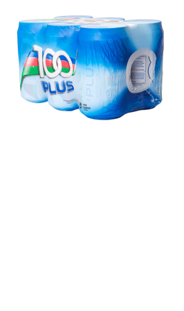 isotonic: KUALA LUMPUR, MALAYSIA - APRIL 17TH, 2015. 100Plus  is a brand of carbonated isotonic sports drink manufactured by Fraser & Neave Limited, a global food and beverage conglomerate based in Singapore.