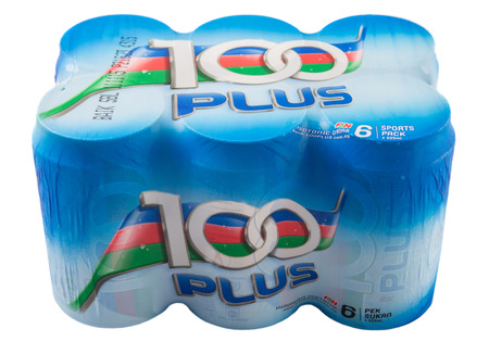 fraser: KUALA LUMPUR, MALAYSIA - APRIL 17TH, 2015. 100Plus  is a brand of carbonated isotonic sports drink manufactured by Fraser & Neave Limited, a global food and beverage conglomerate based in Singapore.