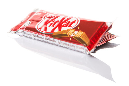 acquired: KUALA LUMPUR MALAYSIA, APRIL 21ST 2015. Kit Kat is a chocolate covered wafer bar created in 1911 by Rowntrees of York, England. Nestle which acquired Rowntree in 1988 now sells Kit Kat globally.