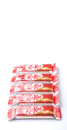 snapped: KUALA LUMPUR MALAYSIA, APRIL 21ST 2015. Kit Kat is a chocolate covered wafer bar created in 1911 by Rowntrees of York, England. Nestle which acquired Rowntree in 1988 now sells Kit Kat globally.