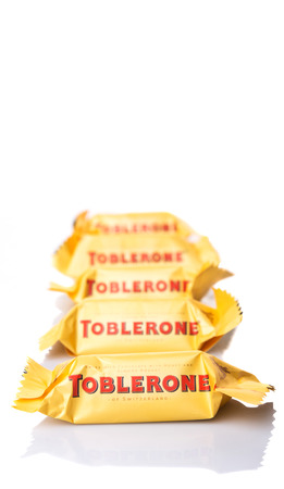 theodor: KUALA LUMPUR, MALAYSIA - APRIL 22ND, 2015. Created by Theodor Tobler in 1908,  Toblerone is a Swiss triangular chocolate bar brand owned by American Mondelez International.