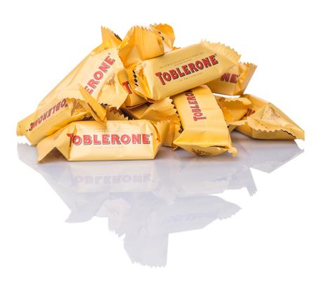 pyramid peak: KUALA LUMPUR, MALAYSIA - APRIL 22ND, 2015. Created by Theodor Tobler in 1908,  Toblerone is a Swiss triangular chocolate bar brand owned by American Mondelez International.