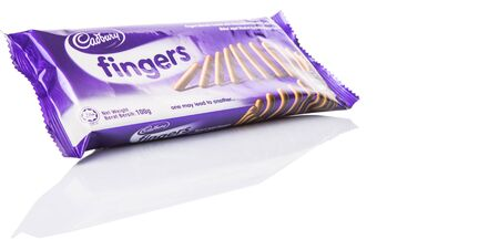 KUALA LUMPUR, MALAYSIA - APRIL 25TH 2015. Cadbury Finger chocolate biscuit bar. Owned by Mondelez International, Cadbury is the second largest confectionery brand in the world. Editorial