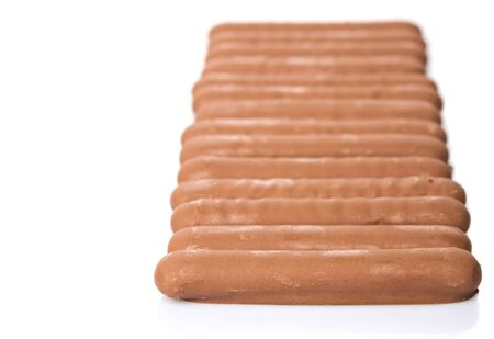 snapped: Chocolate coated finger biscuit over white background