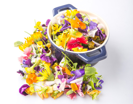 edible: Mix edible flower salad in a blue single pot over white background