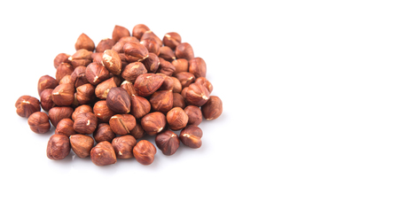 unsaturated fat: Hazelnuts over white background Stock Photo