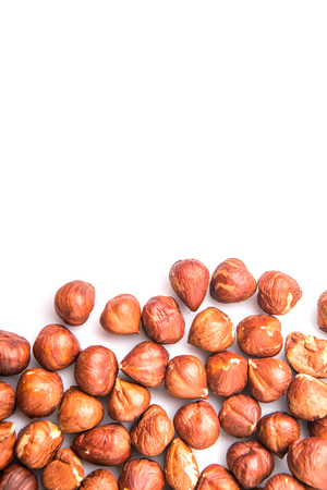 cobnut: Hazelnuts over white background Stock Photo