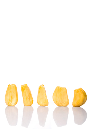 starchy food: Exotic jackfruit over white background Stock Photo