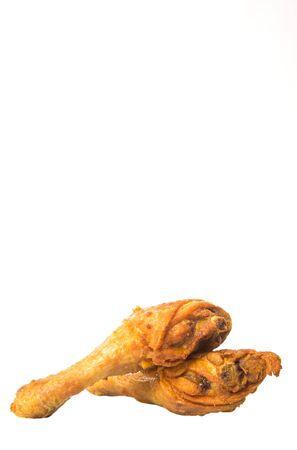 drumsticks: Deep fried chicken drumsticks over white background