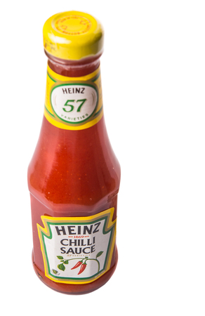 food processing: PUTRAJAYA MALAYSIA  MAY 14TH 2015. Heinz chili sauce. Founded in 1888 The H.J. Heinz Company or Heinz is an American food processing company. Heinz products are sold in more than 200 countries.