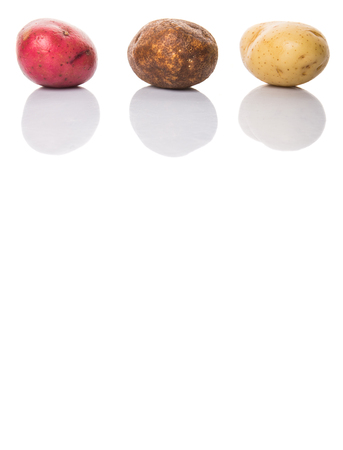 Red brown yellow potatoes on white background photo
