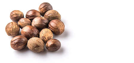 nutmeg: Nutmeg over white background