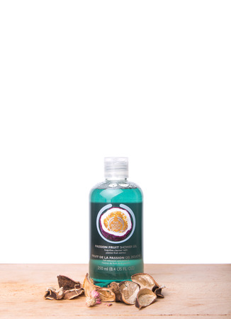 body shop: Passion Fruit shower gel. The Body Shop with 1200 products including cosmetics and makeup are sold in 2500 franchised stores in 61 countries.