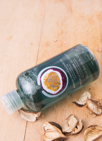 l natural: PUTRAJAYA MALAYSIA  MAY 28TH 2015. Body Shop Passion Fruit shower gel. The Body Shop with 1200 products including cosmetics and makeup are sold in 2500 franchised stores in 61 countries.
