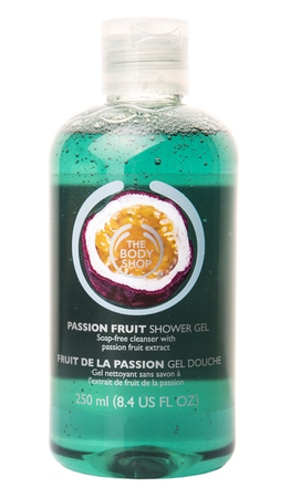 body shop: PUTRAJAYA MALAYSIA  MAY 28TH 2015. Body Shop Passion Fruit shower gel. The Body Shop with 1200 products including cosmetics and makeup are sold in 2500 franchised stores in 61 countries.