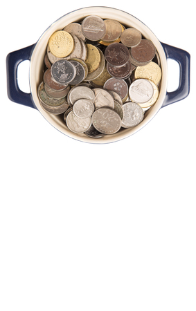 accumulate: Malaysian coins in a blue pot over white background