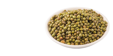 Mung beans in white bowl over white background photo