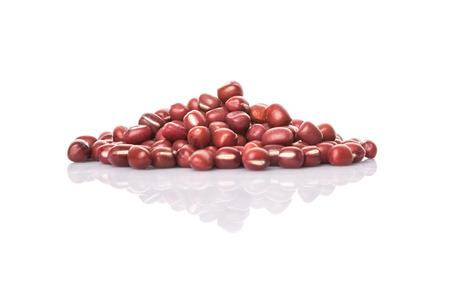 adzuki: Red adzuki beans over white background