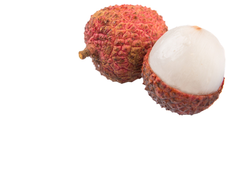 litchee: Ripe lychee fruits over white background Stock Photo