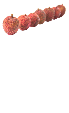lichi: Ripe lychee fruits over white background Stock Photo