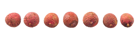 lechee: Ripe lychee fruits over white background Stock Photo