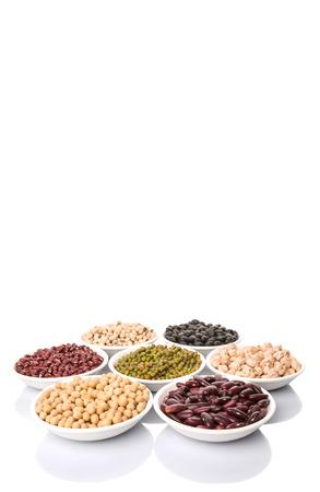 aduki bean: Black eye peas mung bean adzuki beans chickpeas soy beans black beans and red kidney beans in white bowl over white background