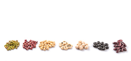 Black eye peas mung bean adzuki beans soy beans black beans and red kidney beans on white background