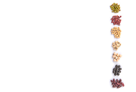 aduki bean: Black eye peas mung bean adzuki beans soy beans black beans and red kidney beans on white background