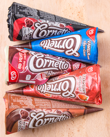 consumer goods: PUTRAJAYA MALAYSIA  JUN 22ND 2015. Unilevers Cornetto ice cream. Unilever is the worlds thirdlargest consumer goods multinational company and owns over 400 products.