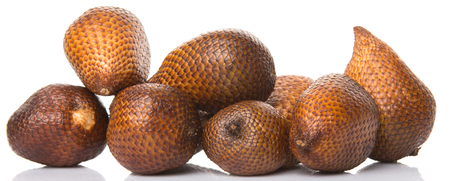 salak: Salak fruit or snake fruits over white background Stock Photo