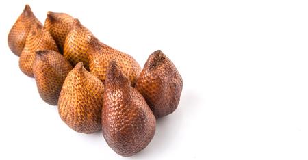 astringent: Salak fruit or snake fruits over white background Stock Photo