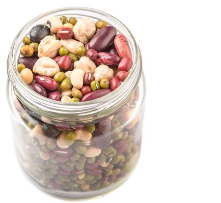 adzuki bean: Mix beans of black eye peas mung bean adzuki beans soy beans black beans and red kidney beans in a mason jar over white background
