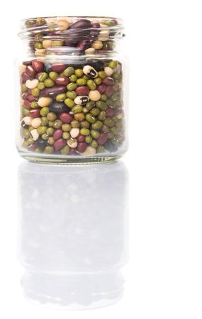 aduki bean: Mix beans of black eye peas mung bean adzuki beans soy beans black beans and red kidney beans in a mason jar over white background