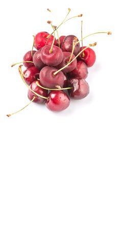 drupe: Red cherry fruits over white background